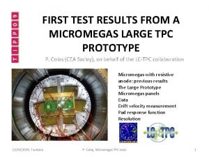 FIRST TEST RESULTS FROM A MICROMEGAS LARGE TPC