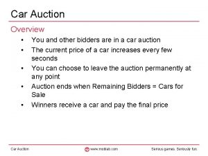Car Auction Overview Car Auction You and other
