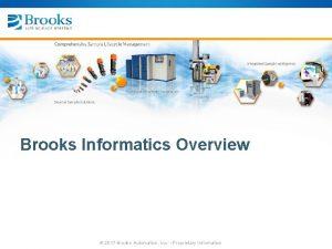 Brooks Informatics Overview 2017 Brooks Automation Inc Proprietary