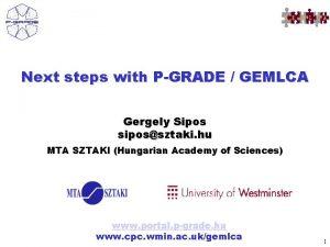 Next steps with PGRADE GEMLCA Gergely Sipos sipossztaki