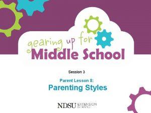 Session 3 Parent Lesson 8 Parenting Styles Objectives