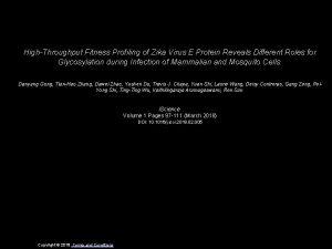 HighThroughput Fitness Profiling of Zika Virus E Protein