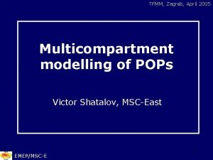 TFMM Zagreb April 2005 Multicompartment modelling of POPs