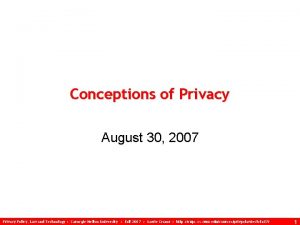 Conceptions of Privacy August 30 2007 Privacy Policy