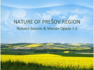 NATURE OF PREOV REGION Richard Gdovin Marin Opiela
