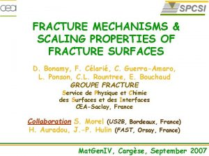 FRACTURE MECHANISMS SCALING PROPERTIES OF FRACTURE SURFACES D