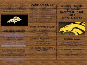 Come to Sterling Heights High School Basketball Camp