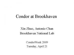 Condor at Brookhaven Xin Zhao Antonio Chan Brookhaven