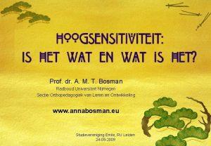 Prof dr A M T Bosman Radboud Universiteit
