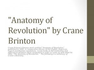 Anatomy of Revolution by Crane Brintons famous work