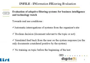 INFILE INformation FILtering Evaluation of adaptive filtering systems