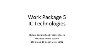 Work Package 5 IC Technologies Michael Campbell and