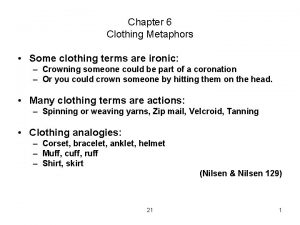 Chapter 6 Clothing Metaphors Some clothing terms are