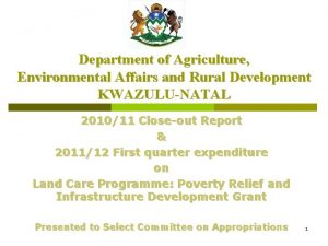 Department of Agriculture Environmental Affairs and Rural Development