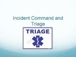 Incident Command Triage Objectives Describe Incident Command System