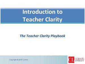 Introduction to Teacher Clarity The Teacher Clarity Playbook