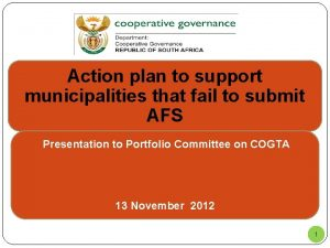 Action plan to support municipalities that fail to