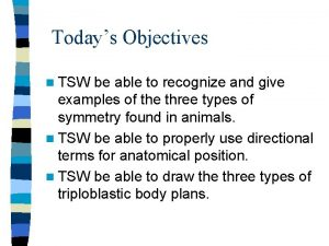 Todays Objectives n TSW be able to recognize