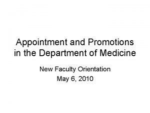 Appointment and Promotions in the Department of Medicine