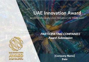 UAE Innovation Award Spreading Innovation Culture Throughout UAE