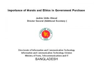 Importance of Morals and Ethics in Government Purchase