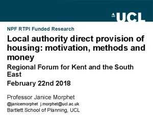 NPF RTPI Funded Research Local authority direct provision