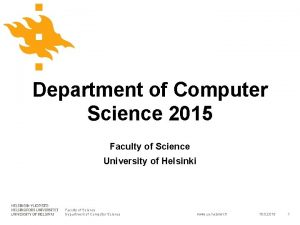 Department of Computer Science 2015 Faculty of Science