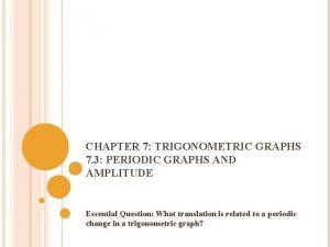 CHAPTER 7 TRIGONOMETRIC GRAPHS 7 3 PERIODIC GRAPHS
