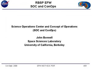 RBSP EFW SOC and Con Ops Science Operations
