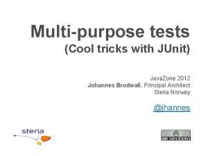 Multipurpose tests Cool tricks with JUnit Java Zone