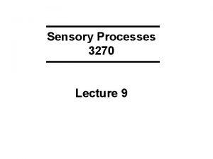 Sensory Processes 3270 Lecture 9 KEYWORDS SMELL I