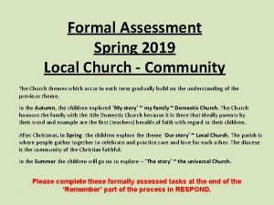 Formal Assessment Spring 2019 Local Church Community The