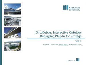 Onto Debug Interactive Ontology Debugging PlugIn for Protg