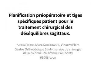 Planification propratoire et tiges spcifiques patient pour le