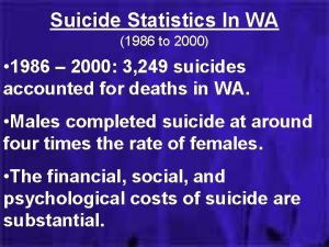 Suicide Statistics In WA 1986 to 2000 1986