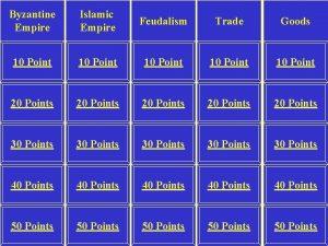 Byzantine Empire Islamic Empire Feudalism Trade Goods 10