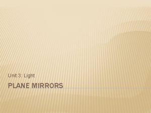Unit 3 Light PLANE MIRRORS TERMS Plane mirror