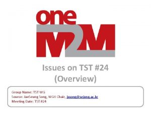 Issues on TST 24 Overview Group Name TST