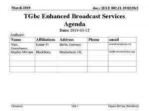 March 2019 doc IEEE 802 11 190219 r