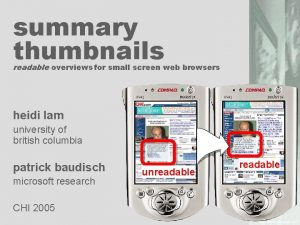 summary thumbnails readable overviews for small screen web