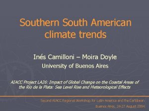 Southern South American climate trends Ins Camilloni Moira