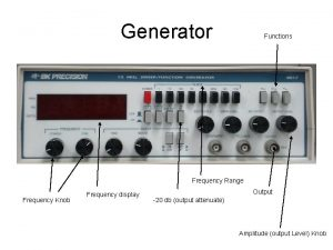 Generator Functions Frequency Range Frequency Knob Frequency display