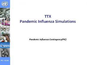 TTX Pandemic Influenza Simulations Pandemic Influenza ContingencyPIC PIC