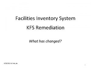 Facilities Inventory System KFS Remediation What has changed