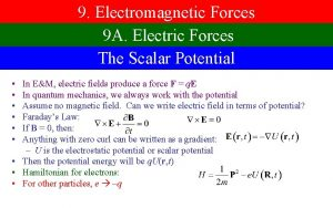 9 Electromagnetic Forces 9 A Electric Forces The