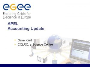 APEL Accounting Update Dave Kant CCLRC eScience Centre
