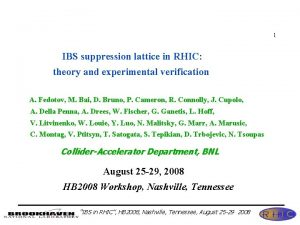1 IBS suppression lattice in RHIC theory and