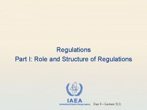 Regulations Part I Role and Structure of Regulations