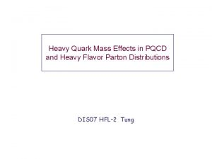 Heavy Quark Mass Effects in PQCD and Heavy