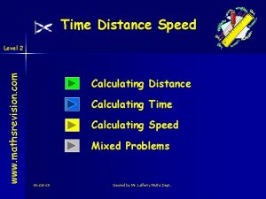 Time Distance Speed www mathsrevision com Level 2